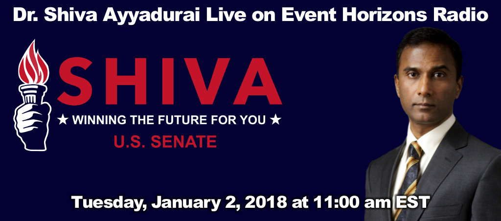 Dr. Shiva Ayyadurai Speaks Live On Event Horizons Radio – January 2, 2018