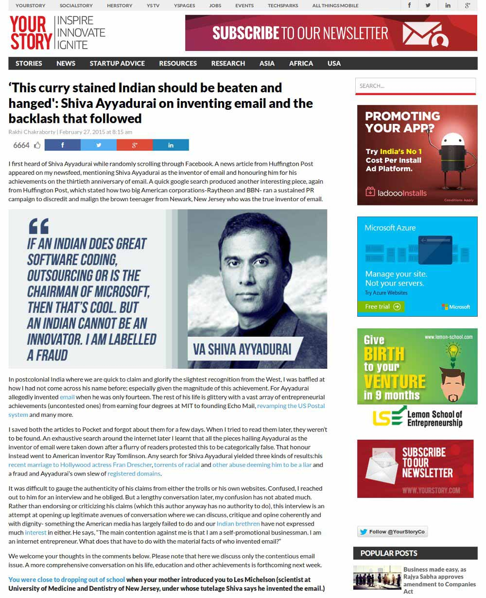 Shiva Ayyadurai On Inventing Email And The Backlash That Followed