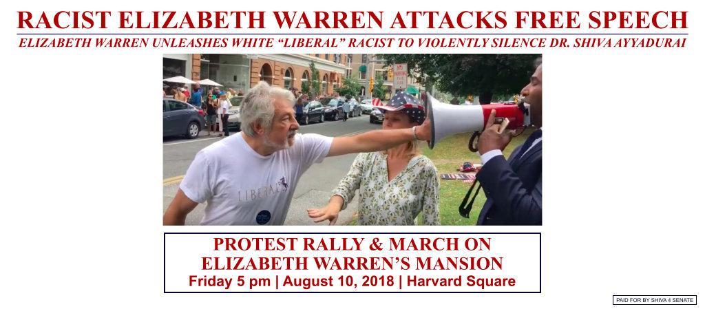 Rally Against Racist Elizabeth Warren At Cambridge, MA