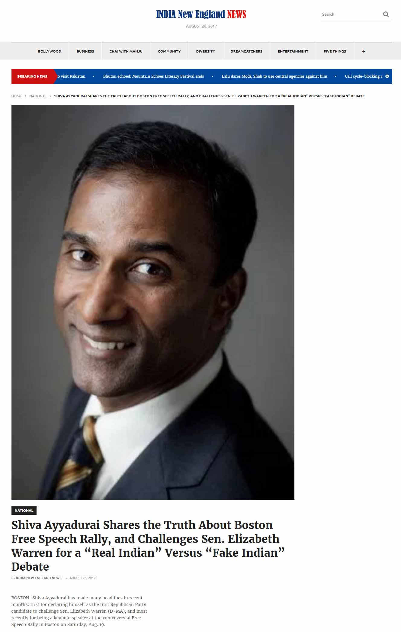 "Shiva Ayyadurai Shares The Truth About Boston Free Speech Rally, And Challenges Sen. Elizabeth Warren For A ""Real Indian"" Versus ""Fake Indian"" Debate"
