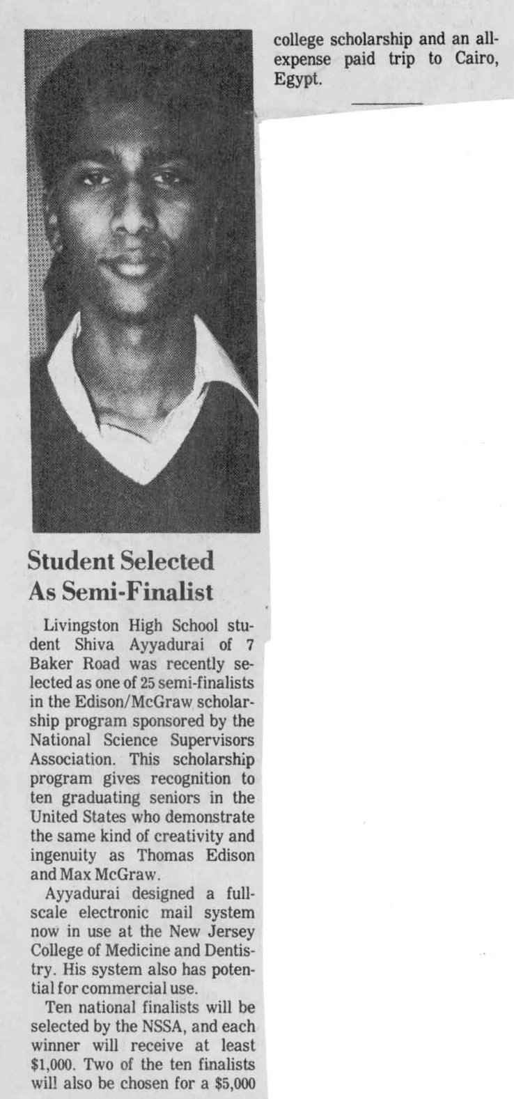 Student Selected As Semi-Finalist