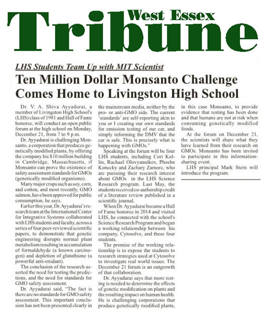 Ten Million Dollar Monsanto Challenge Comes Home To Livingston High School