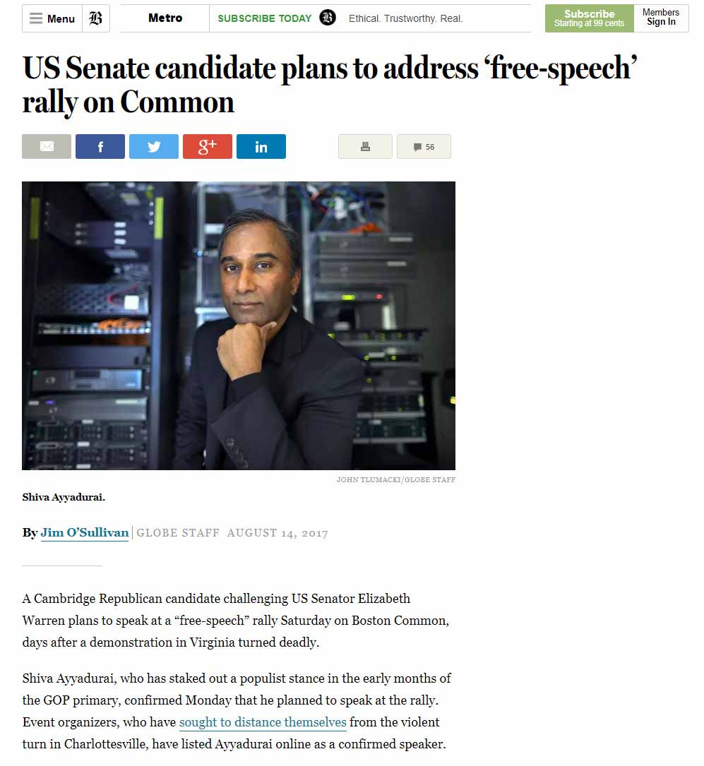 US Senate Candidate Plans To Address 'Free Speech' Rally On Common