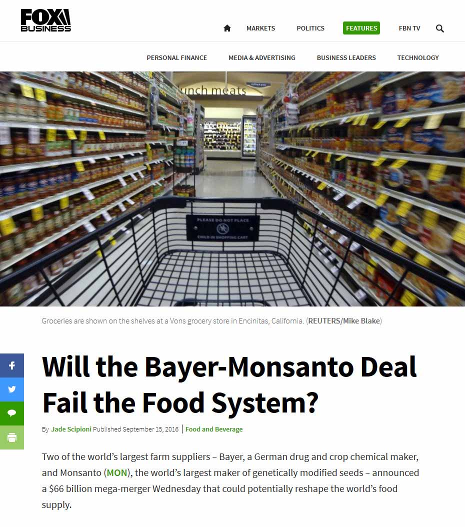 Will The Bayer-Monsanto Deal Fail The Food System?