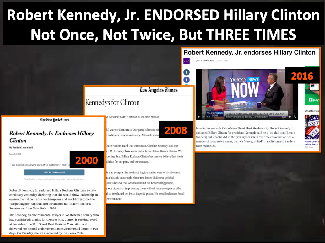 Robert F. Kennedy Endorsed Vaccine Queen Hillary Clinton Three Times