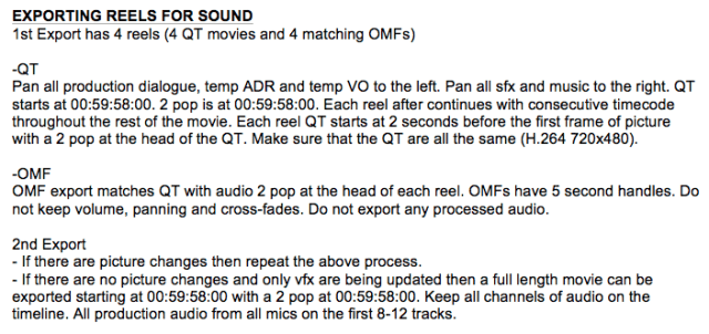 Rules for the sound export