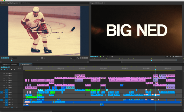 Premiere Pro timeline of the BIG NED trailer