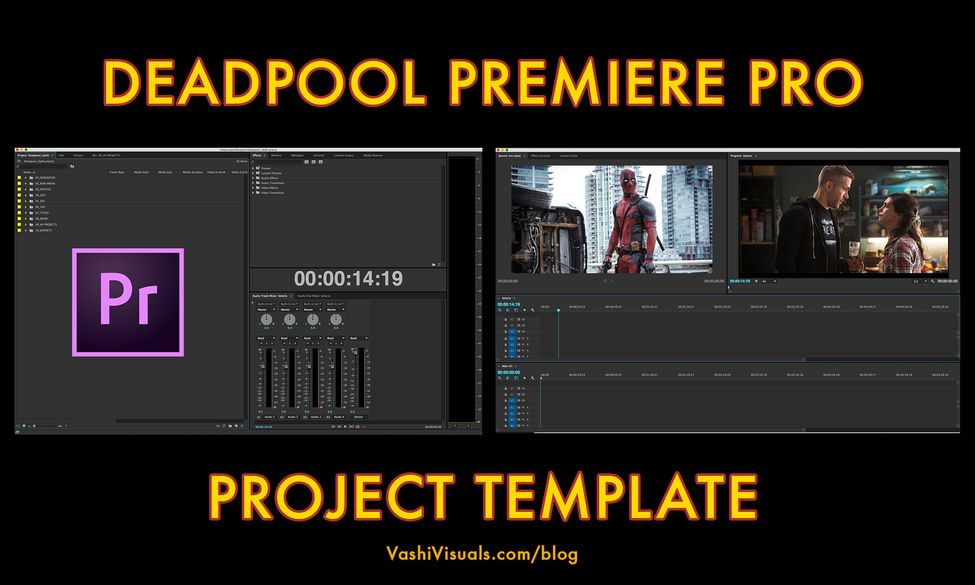 Deadpool premiere pro project template for Adobe premiere pro templates free
