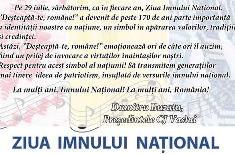 Mesajul d-lui Dumitru Buzatu cu ocazia Zilei Imnului Național