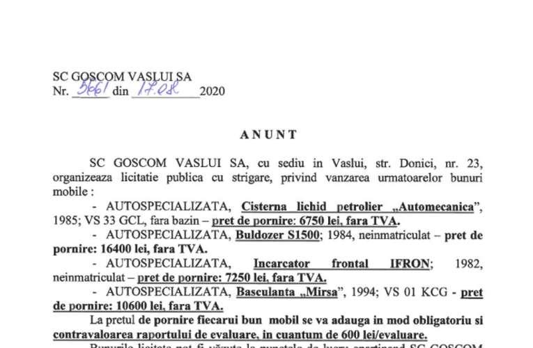 Licitație Goscom Vaslui SA