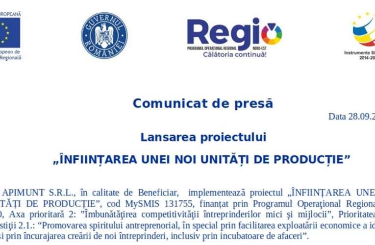 """Comunicat de presă APIMUNT: Lansarea proiectului """"ÎNFIINȚAREA UNEI NOI UNITĂȚI DE PRODUCȚIE"""""""