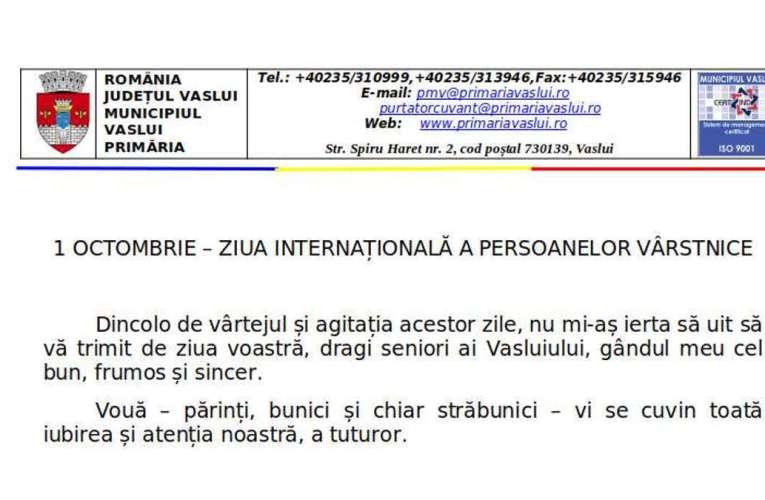 Vasile Pavăl: Mesaj de ZIUA INTERNAȚIONALĂ A PERSOANELOR VÂRSTNICE