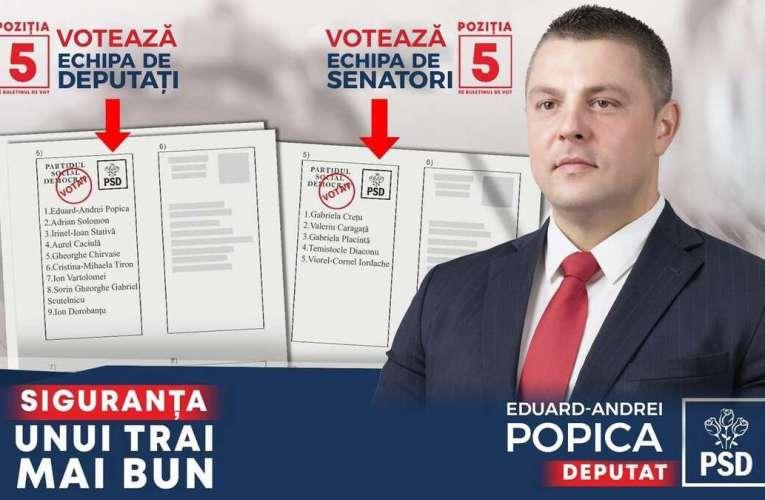 Mesajul d-lui Eduard Andrei Popica, locul I la Camera Deputaților pe listele PSD Vaslui