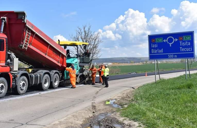 Lucrãri ample de asfaltare pe drumul național Bârlad – Podu Turcului! Viacons Rutier asigură mixtura asfaltică!