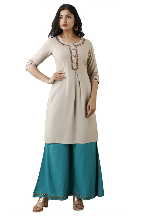 Casual Embroidered Straight Kurti