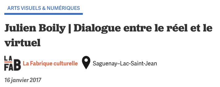 Titre Julien Boily Fabrique Culturelle