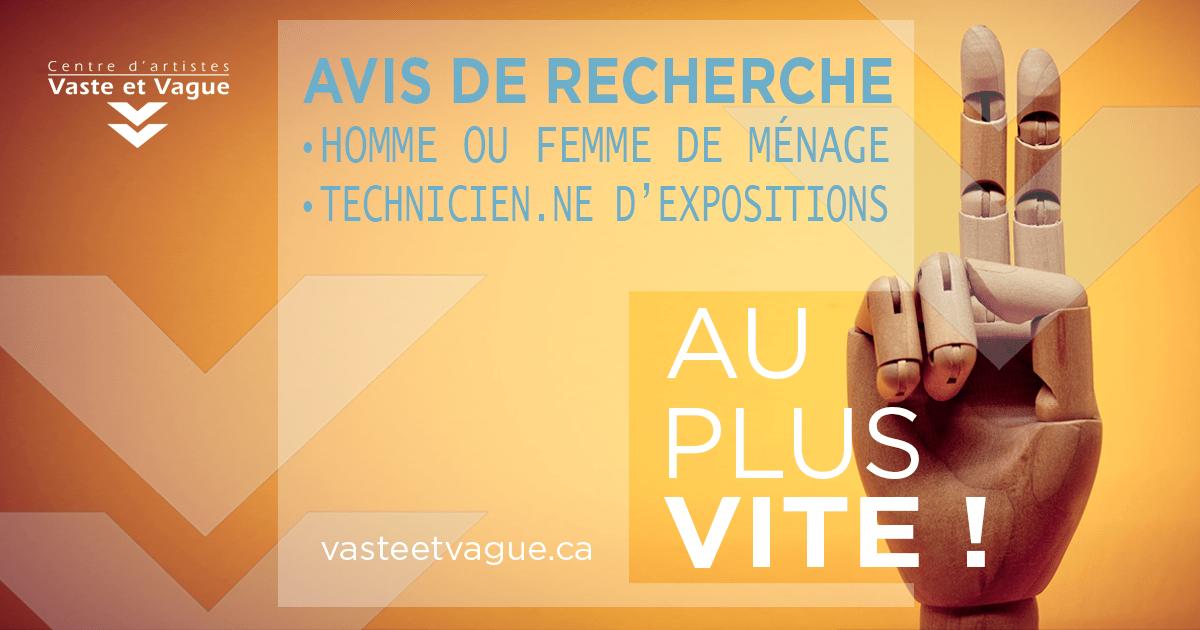 AVIS DE RECHERCHE CONTRACTUELS MENAGE EXPO