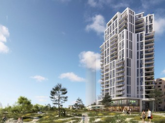 Start bouw vier woontorens in Kop Zuid project DUIN
