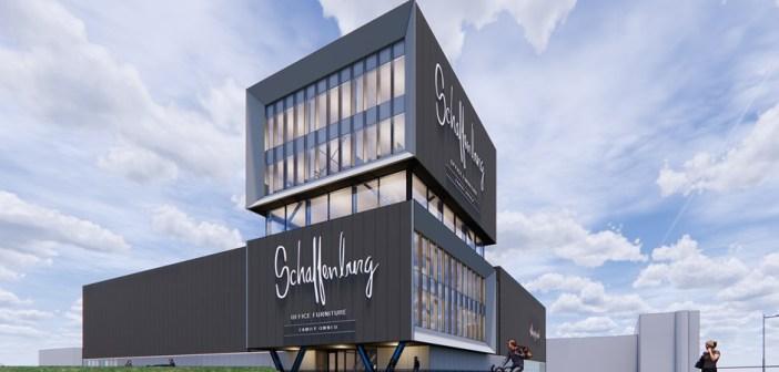 Nieuw bedrijfspand Schaffenburg Office Furniture blikvanger aan de A16