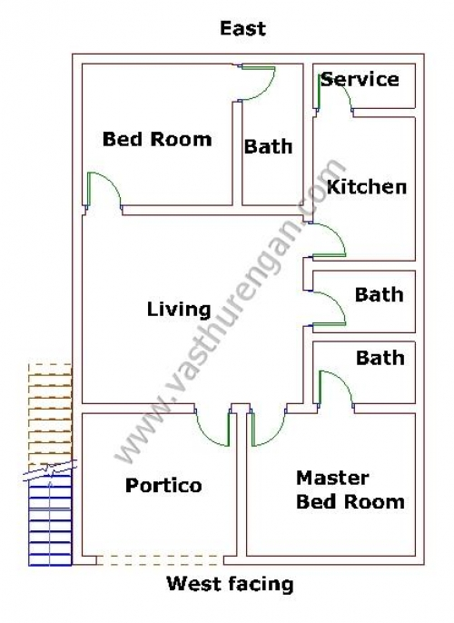 Master Bed Room Position West Facing House Plan 7