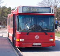 Buss 469 mellan Finnberget och Nacka sjukhus
