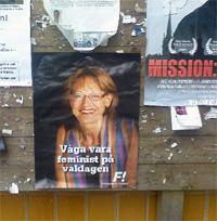 Valaffisch för Feministiskt Initiativ på Henriksdalsberget i riksdagsvalet 2010