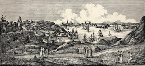 Utsikt från Fåfängan över Stora varvet vid Tegelviken med Erstaklippan och Katarina kyrka i bakgrunden, 1800-talet