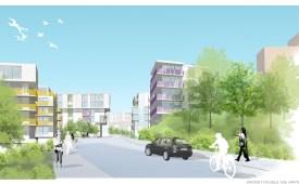 ÅWL:s skiss för solfjäder format bostadsområde på Kvarnholmens platå