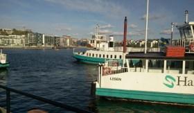 Henriksdalshamnen med M/S Emelie och M/S Lisen vid Barnängsbryggan