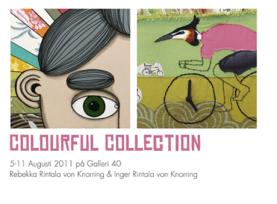 Inbjudan till utställningen Colourful Collection av kreatösen Rebekka Rintala von Knorring