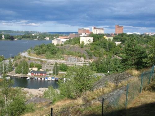 Kvarnholmen och Hästholmssundet sedda från Finnberget