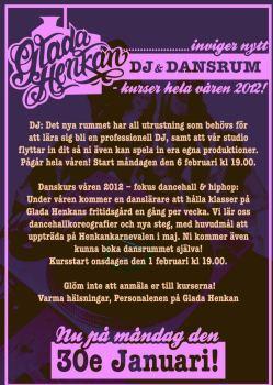Affisch för danskurs och djkurs på Glada Henkans fritidsgård