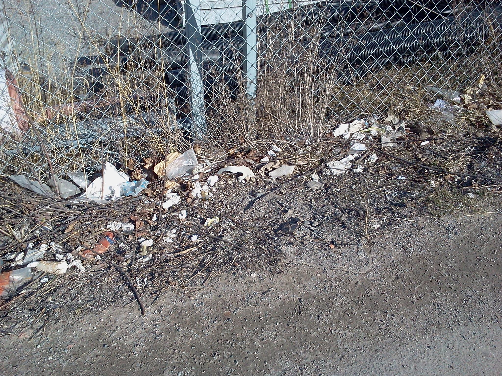 Övergivna grönytor och avfall i början av Kanalvägen vid ingången till Henriksdalshamnen