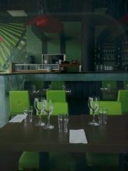 dukade bord på restaurang pong i henriksdalshamnen