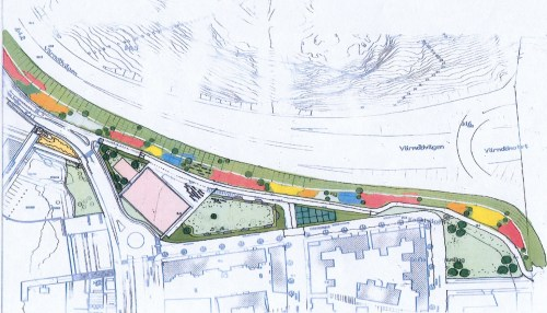 Parken mellan Värmdövägen och Kanalvägen i Henriksdalshamnen