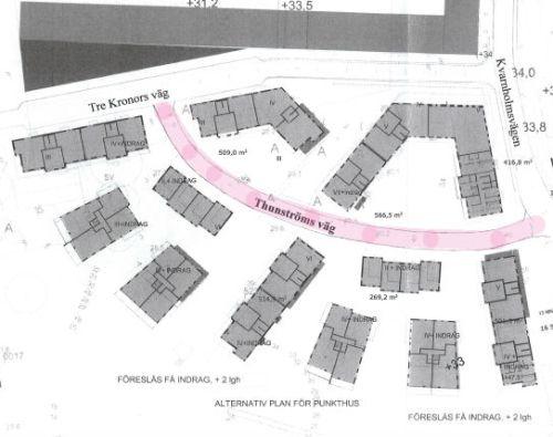 kvarnholmen, nacka: karta med thunströms vägen