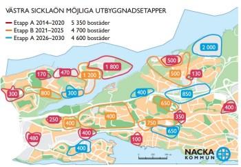 Västra Sicklaön, Nacka: Troliga bostadsrprojekt på Kvarnholmen, Finnboda, Henriksdal och Gäddviken