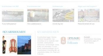 KUABs webbplats för Kvarnholmen i Nacka