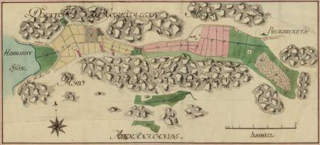 Karta för arealmätning av Henriksdalsberget och Trolldalen 1795