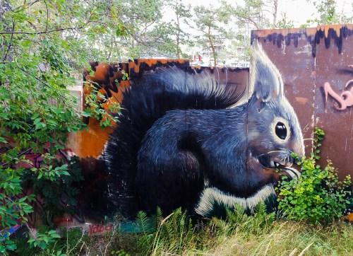 Ekorre på Magiska trädgården på Kvarnholmen