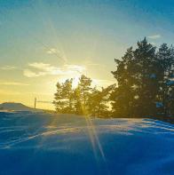 Hammarbybacken & kvällssol syns från snötäckta skogen #Trolldalen mellan #Henriksdal, Finnboda & Svindersviken.