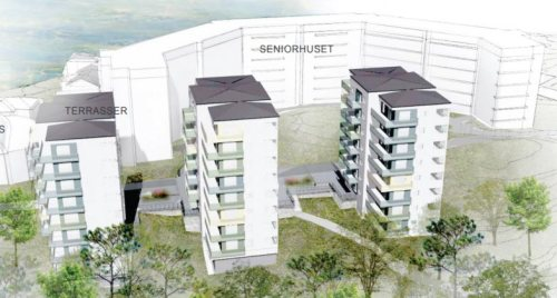 Tre hus som ska uppföras mellan seniorboendet och Engelska parken.