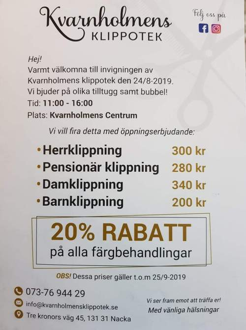 Öppningserbjudande hos Kvarnholmens klippotek