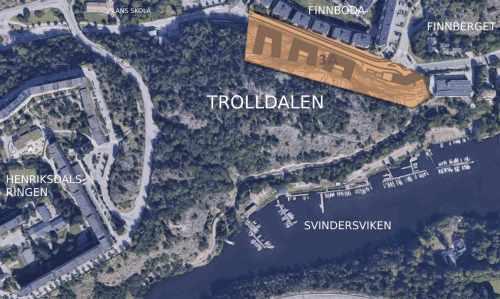 Karta över etapp 3 i planprogrammet för Henriksdal i nordöstra Trolldalen (orange).