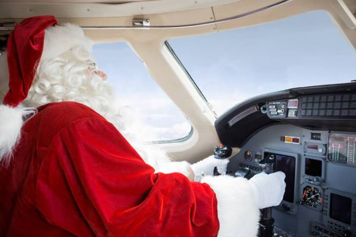 """Santa Claus captured by """"Google Air View"""" headed to Costa Rica after a busy night of delivering presents to boys and girls around the globe."""