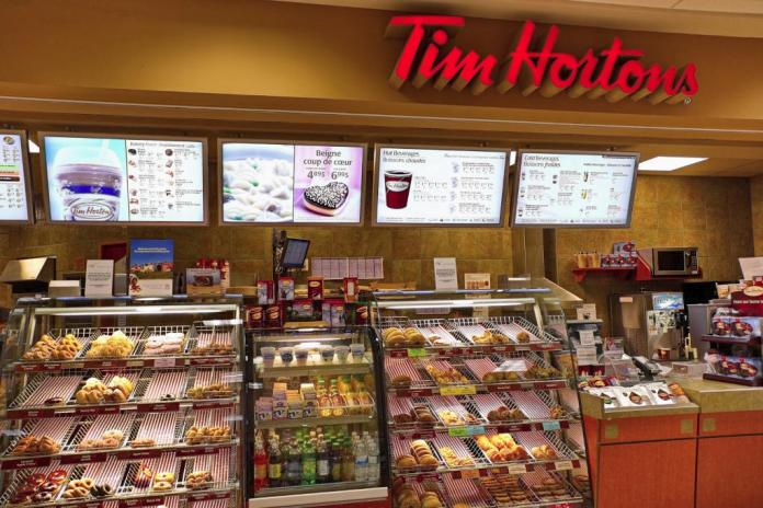 """Tim Hortons, with """"Always Fresh Coffee"""" and many quick meal options that include marujuan will hit the spot any time of day"""
