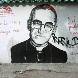 A mural of Mgr. Romero