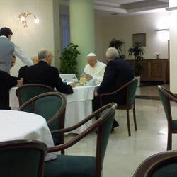 The Pope has breakfast in St. Martha's House