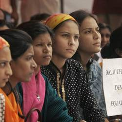 Some Dalit Christan girls hold a protest