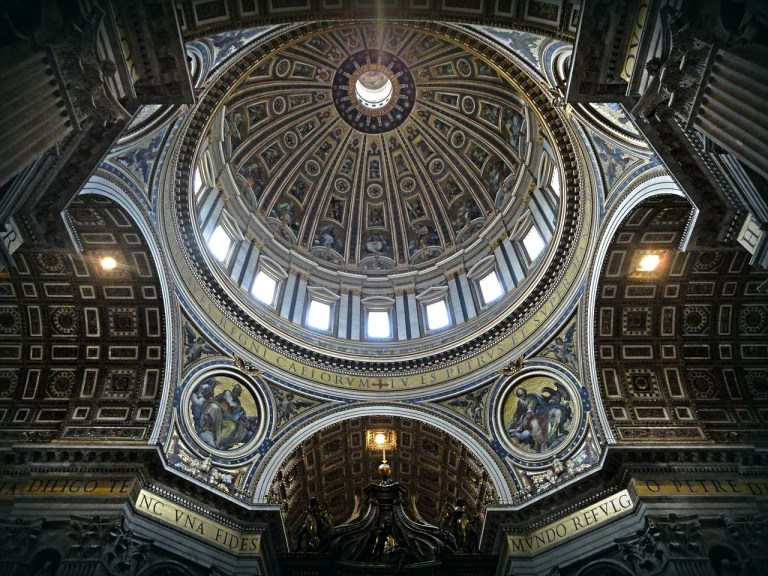 View of the Saint Peter's Basilica's dome from inside
